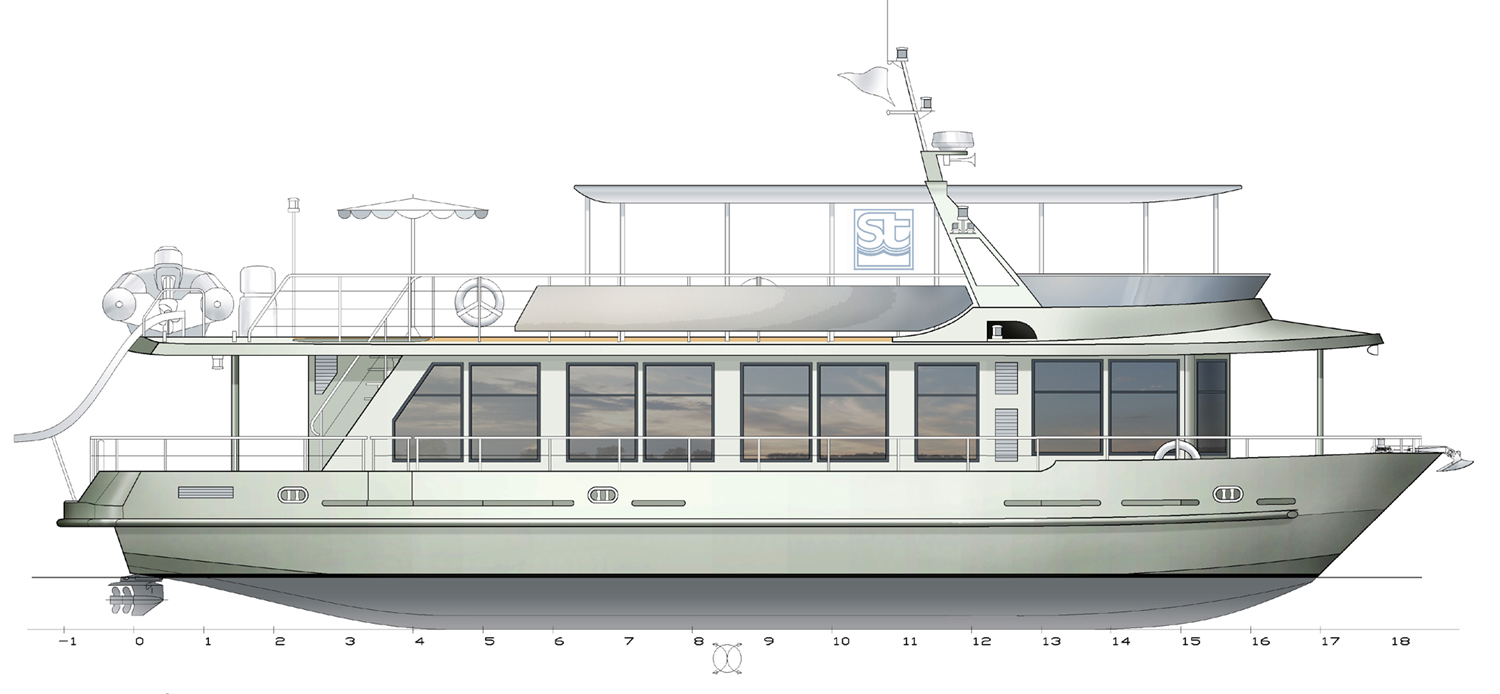 Houseboat - catamaran. SeaTech ltd